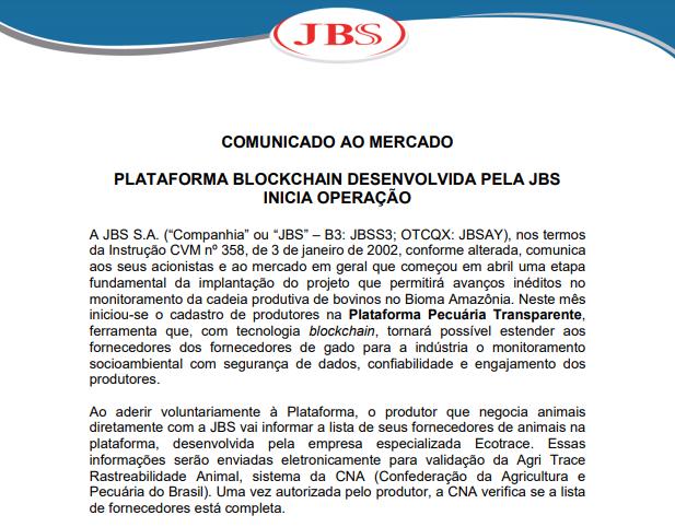JBS implementa plataforma blockchain desenvolvida pela própria companhia