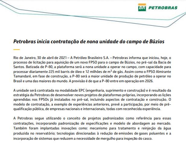 Petrobras inicia contratação de nona unidade do campo de Búzios