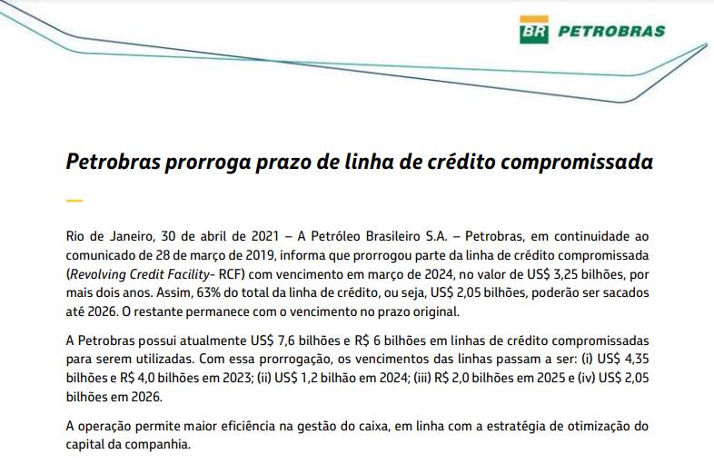 Petrobras prorroga prazo de linha de crédito compromissada