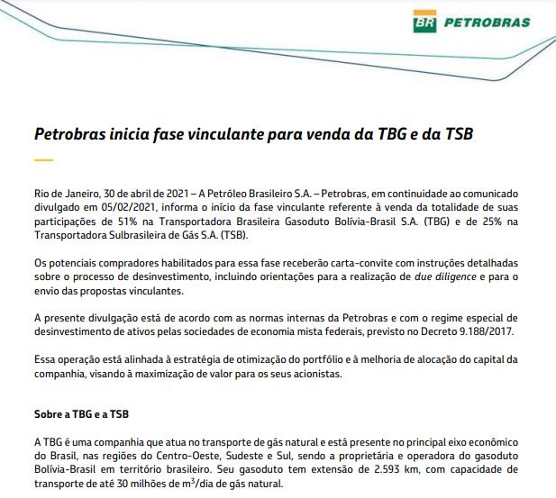 Petrobras inicia fase vinculante para venda da TBG e da TSB