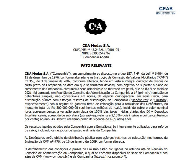 C&A anuncia primeira emissão de debentures simples não conversíveis
