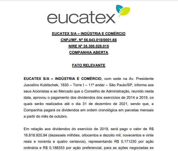 Eucatex anuncia pagamento de dividendos aos acionistas