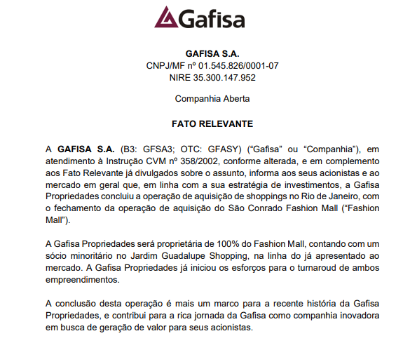 Gafisa conclui aquisição do Fashion Mall no Rio de Janeiro