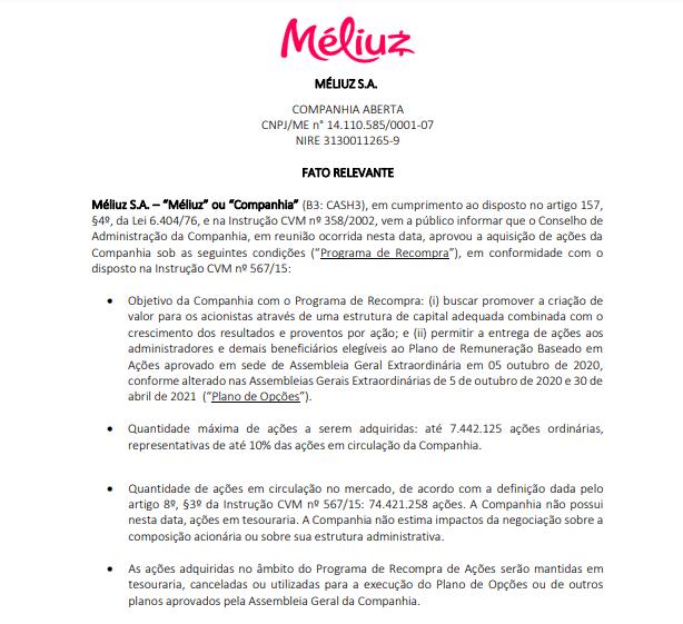 Méliuz anuncia programa de recompra de ações para fortalecer estrutura de capital