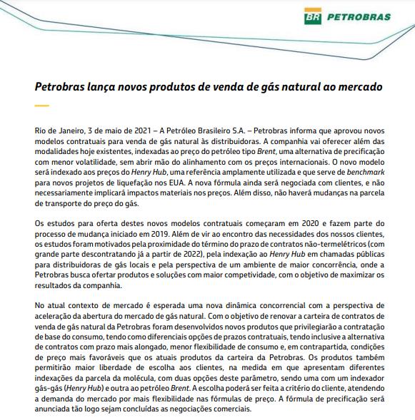 Petrobras lança novos produtos de venda de gás natural ao mercado