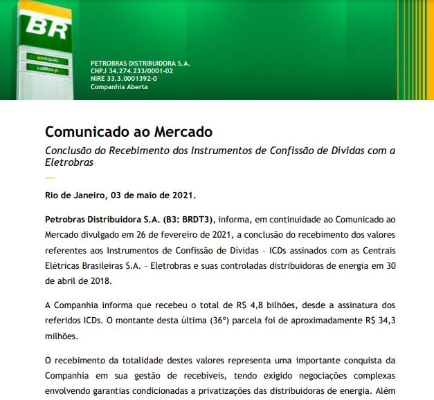 Petrobras informa conclusão do recebimento dos instrumentos de dívidas com Eletrobras