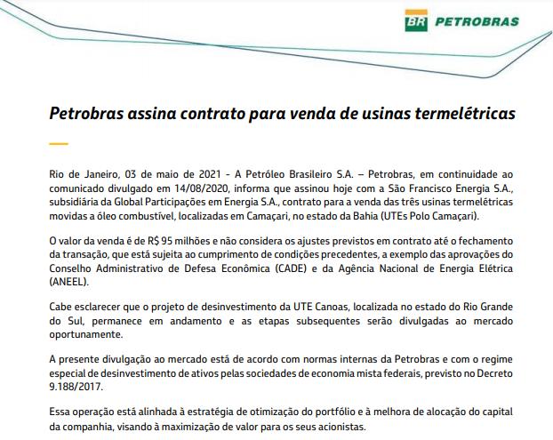 Petrobras anuncia venda de usinas termelétricas para subsidiária da Global Participações