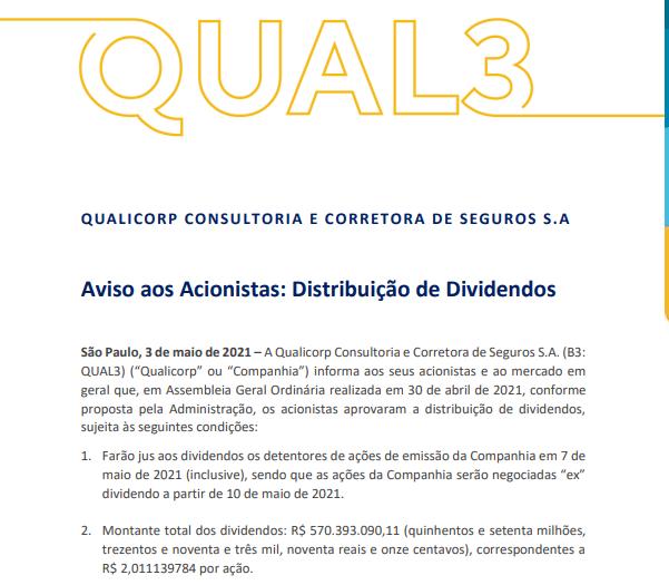 Qualicorp anuncia pagamento de dividendos aos acionistas