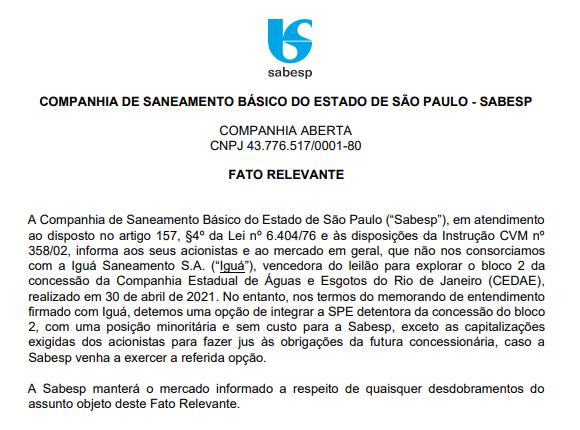 Sabesp detém opção para integrar bloco 2 do consórcio que venceu leilão da Cedae