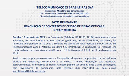 Telebras renova contrato de cessão de fibra óptica com Petrobras