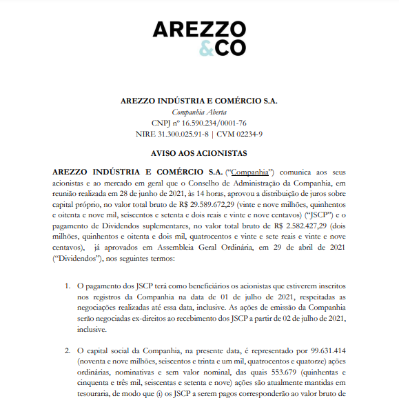 Arezzo anuncia pagamento de R$29.5 mi em juros sobre capital próprio