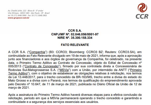 CCR anuncia primeiro termo aditivo a concessão para trecho concedido da BR-163/MS