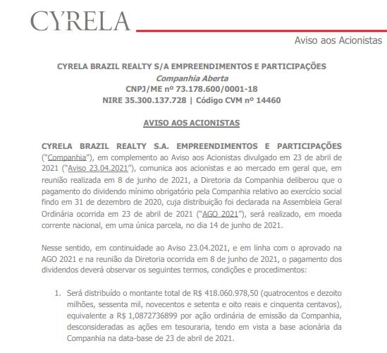 Cyrela anuncia pagamento de dividendos aos acionistas