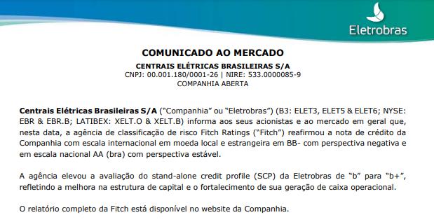 Eletrobras recebe nota de crédito BB-, com perspectiva negativa da Fitch