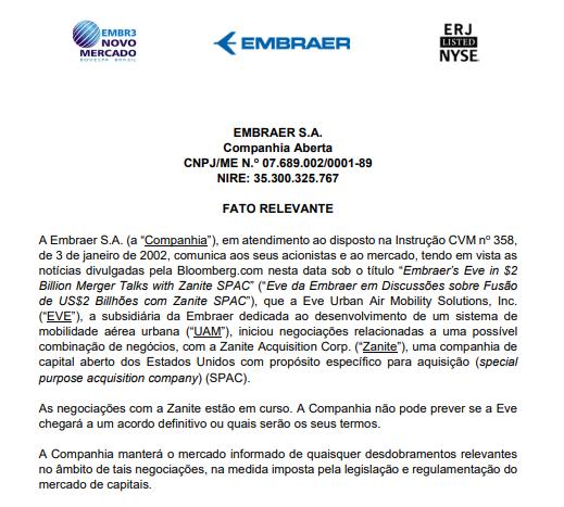 Embraer confirma possível fusão entre Eve Urban Air Mobility e Zanite Acquisition