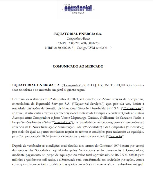 Equatorial anuncia aquisição da E-Nova Instalação e Manutenção Ltda
