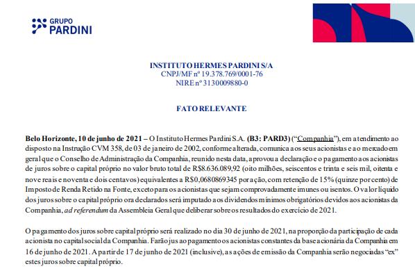 Hermes Pardini anuncia pagamento de juros sobre capital próprio (JCP)