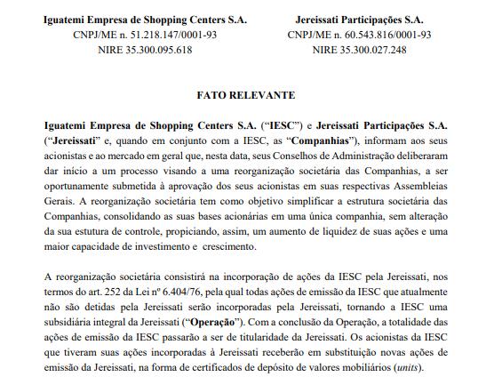 Iguatemi Empresa de Shopping e Jereissati Participações anunciam reorganização societária