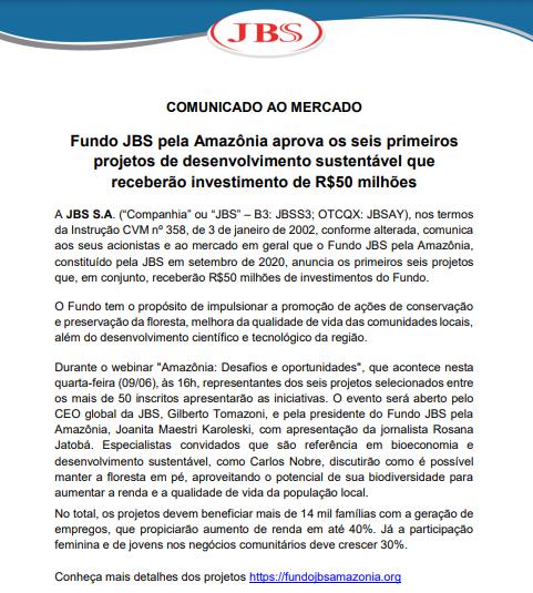 Fundo JBS pela Amazônia aprova os seis primeiros projetos de desenvolvimento sustentável