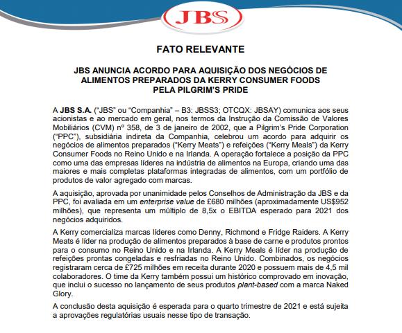 JBS adquire indústria de alimentos preparados Kerry Consumer no Reino Unido
