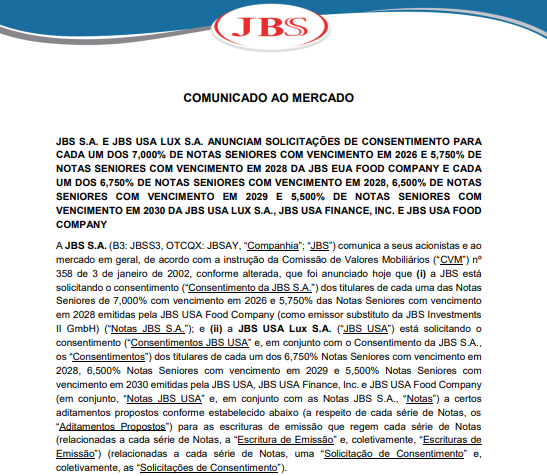 JBS e sua controlada nos EUA anunciam emissão de notas seniores