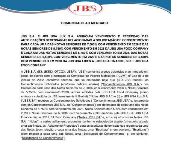 JBS vai negociar Senior Notes de sua subsidiária norte-americana