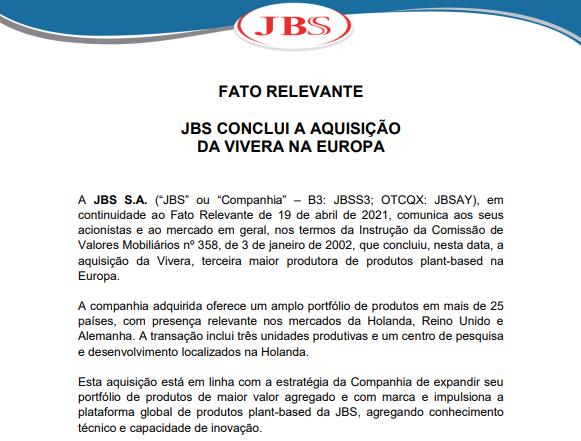 JBS conclui aquisição da Vivera, 3ª maior produtora de plant-based na Europa
