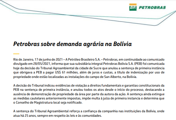 Petrobras se livra de pagar US$61 mi em indenização por uso de propriedade na Bolívia