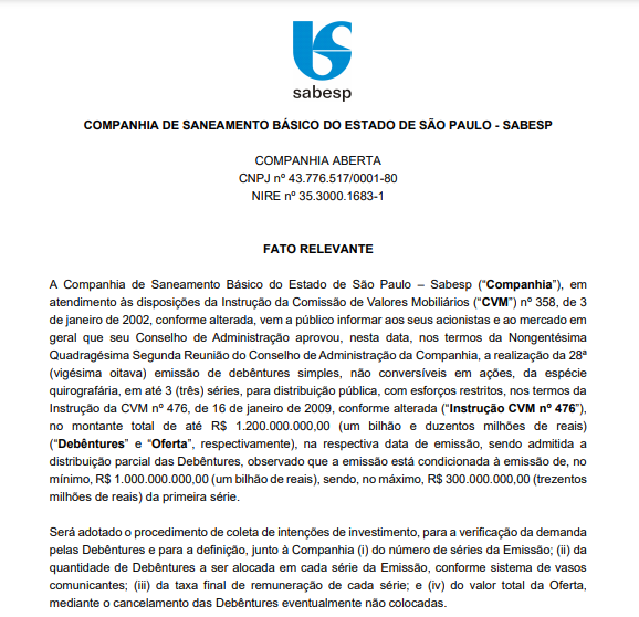 Sabesp anuncia 28ª emissão de debêntures simples