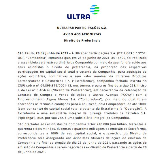 Ultrapar anuncia direito de preferência de ações em negócio envolvendo a Extrafarma