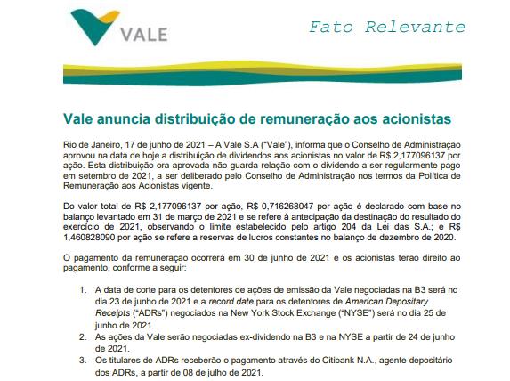 Vale anuncia distribuição de remuneração aos acionistas