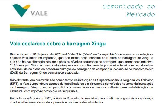 Vale nega risco iminente em barragem do Xingú, em Minas Gerais