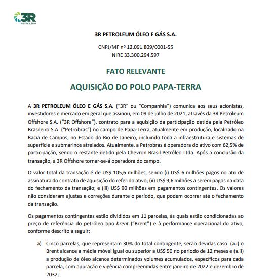 3R Petroleum adquire participação no campo de Papa Terra da Petrobras