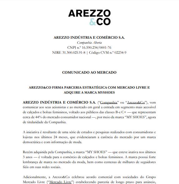 Arezzo firma parceria com Mercado Livre e adquire a marca MyShoes