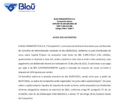 BLAU Farmacêutica anuncia R$3,5 mi em juros sobre capital próprio (JCP)