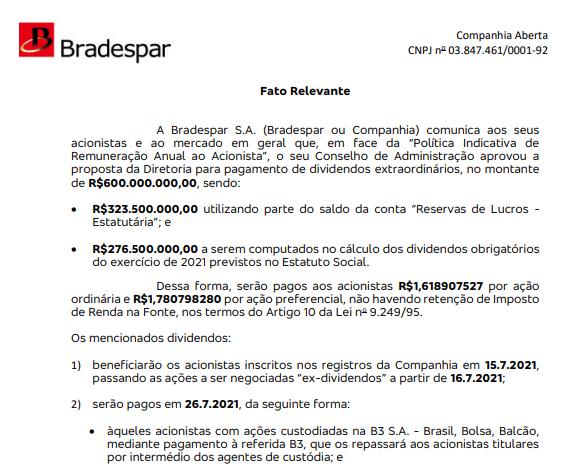 Bradespar anuncia pagamento de dividendos aos acionistas