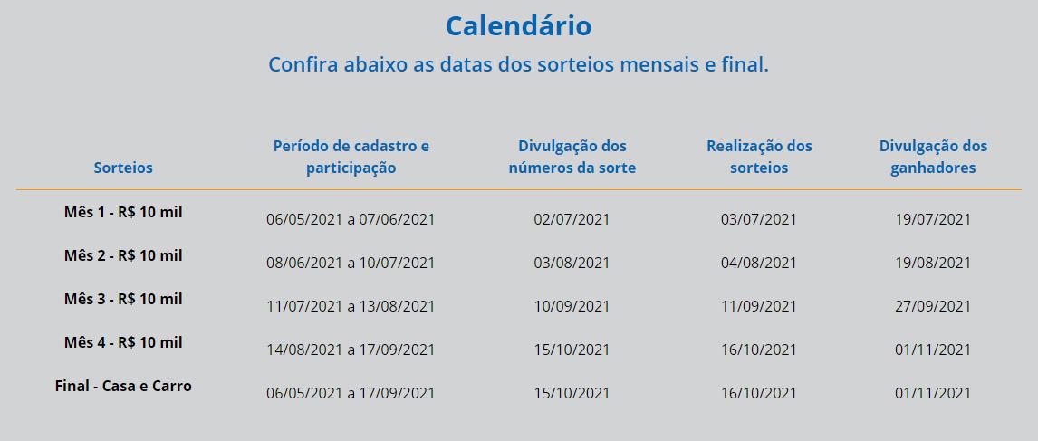 Calendário dos sorteios e prêmios