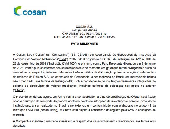 Cosan pretende realizar oferta de ações preferenciais da Raízen