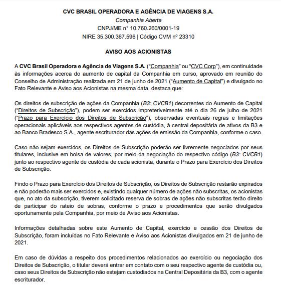 CVC Brasil anuncia direitos de subscrição até 26 de julho