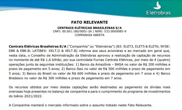 Eletrobras aprova captação de R$1,6 bi pela Furnas em 4 operações distintas