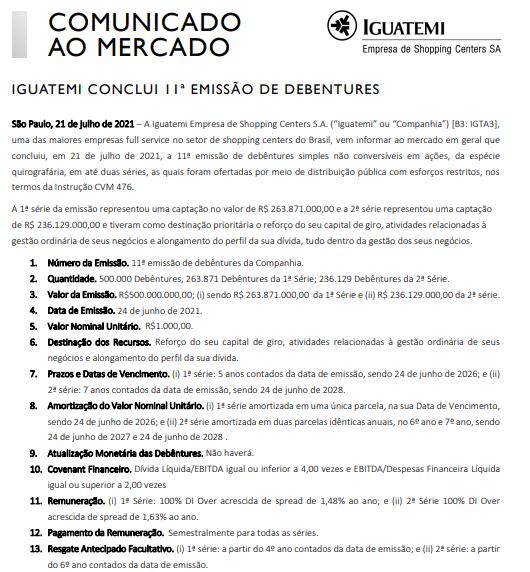 Iguatemi anuncia a conclusão de sua 11ª emissão de debêntures