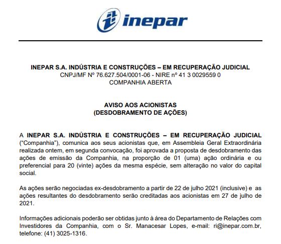 Inepar anuncia desdobramento de ações na proporção de 1 para 20