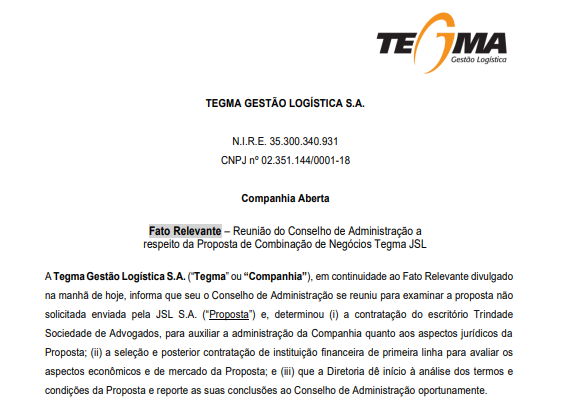 Tegma vai contratar banca de advogados para analisar proposta da JSL