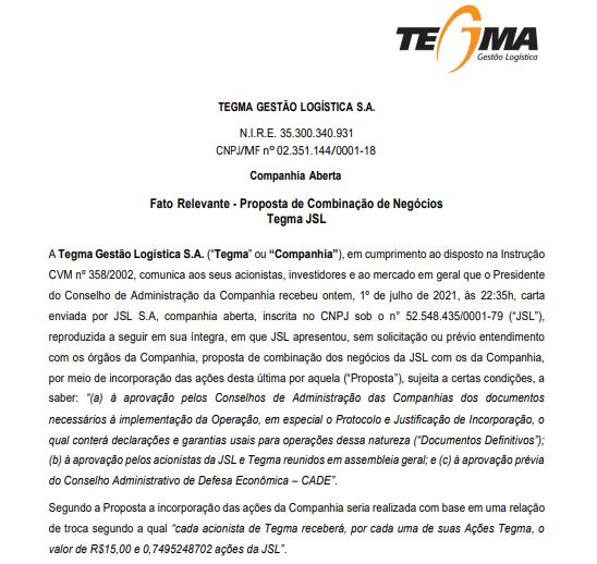 Tegma recebe proposta de combinação de negócios da JSL