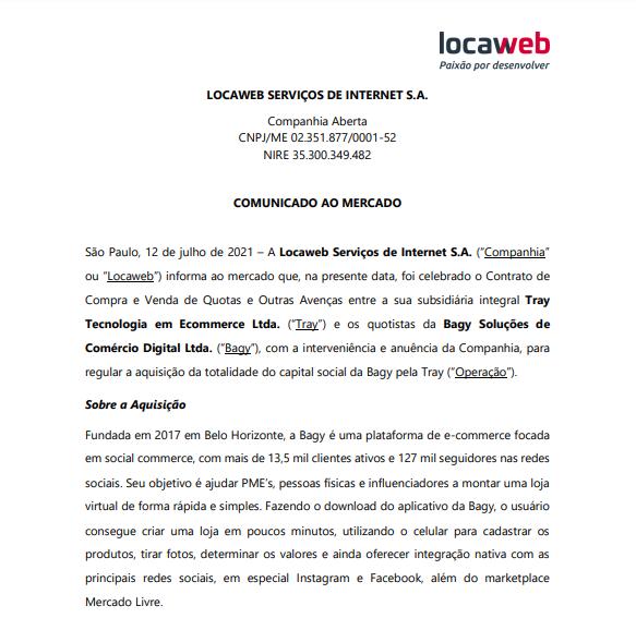 Locaweb anuncia aquisição da Bagy Soluções de Comércio Digital via subsidiária