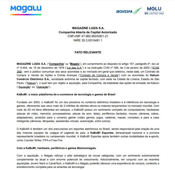 Magazine Luiza anuncia aquisição da Kabum! e oferta pública de ações
