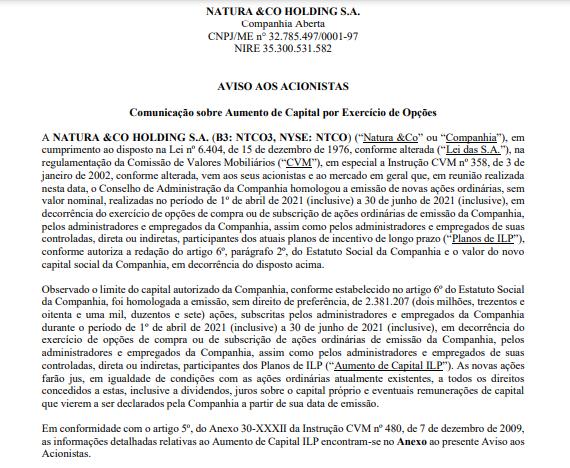 Natura&Co anuncia aumento de capital por exercício de opções
