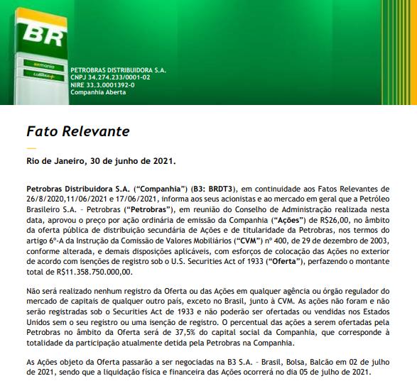 Petrobras coloca últimas ações da BR para venda dia 2 e estima levantar mais de R$11 bi