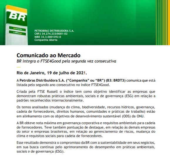 Petrobras segue listada no índice FTSE4Good