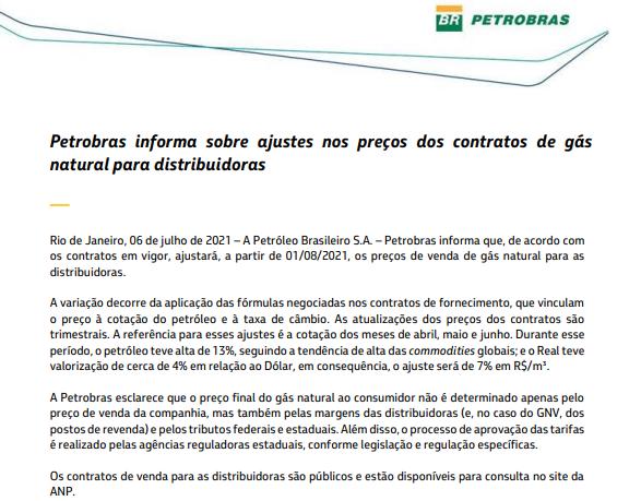 Petrobras comunica reajuste no preço do gás para distribuidoras em 1º de agosto